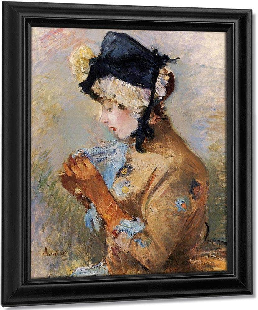 Woman Wearing Gloves Aka The Parisian 1885 Oil On Canvas Private Collection By Berthe Morisot