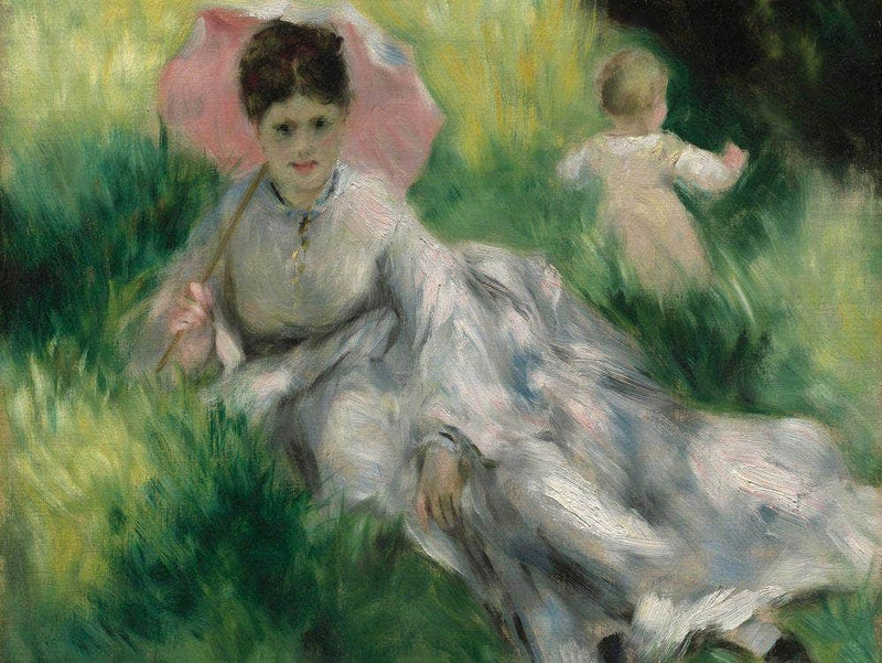 Woman With A Parasol And Small Child On A Sunlit Hillside By Pierre August Renoir