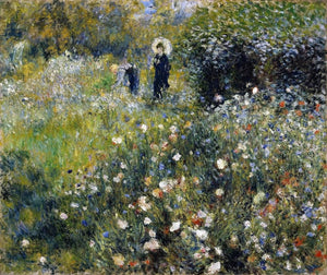 Woman With A Parasol In A Garden Painting Auguste Renoir Canvas Art