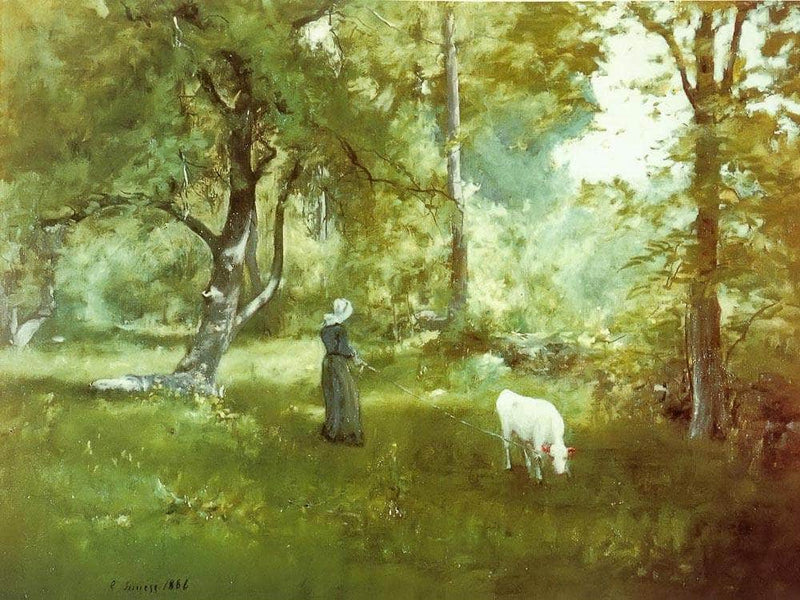 Woman With Calf By George Inness