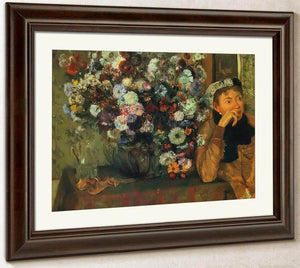 Woman With Chrysanthemums By Edgar Degas