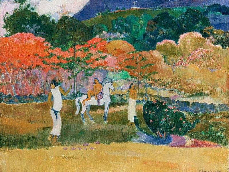 Women And A White Horse By Paul Gauguin
