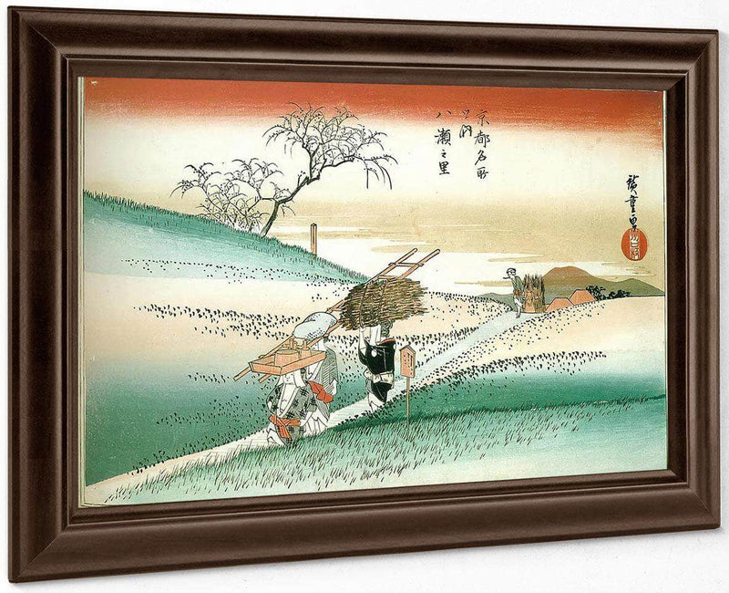 Women Walking On A Road Through The Fields By Hiroshige