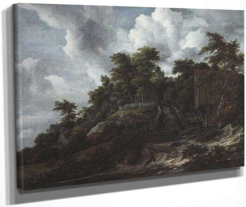 Wooded Hillside With A View Of Bentheim Castle By Jacob Van Ruisdael