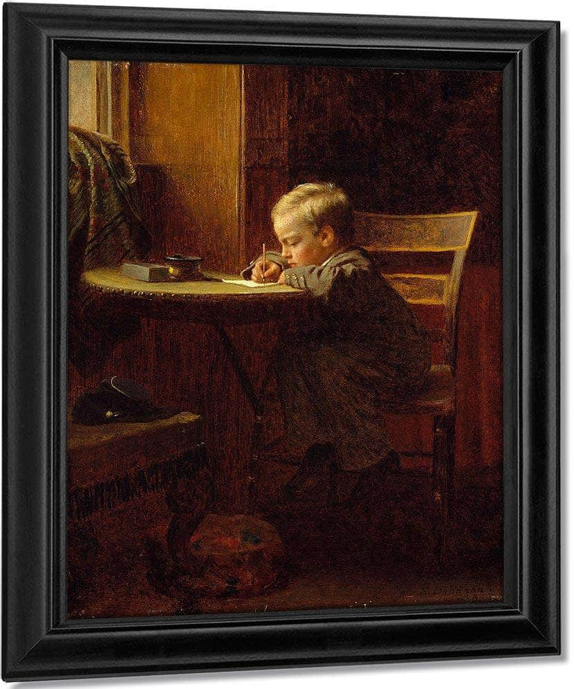 Writing To Father By Eastman Johnson