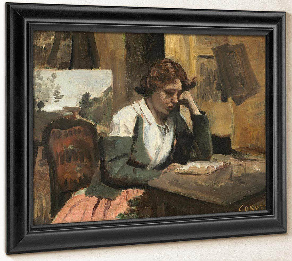 Young Girl Reading Jean Baptiste By Camille Corot