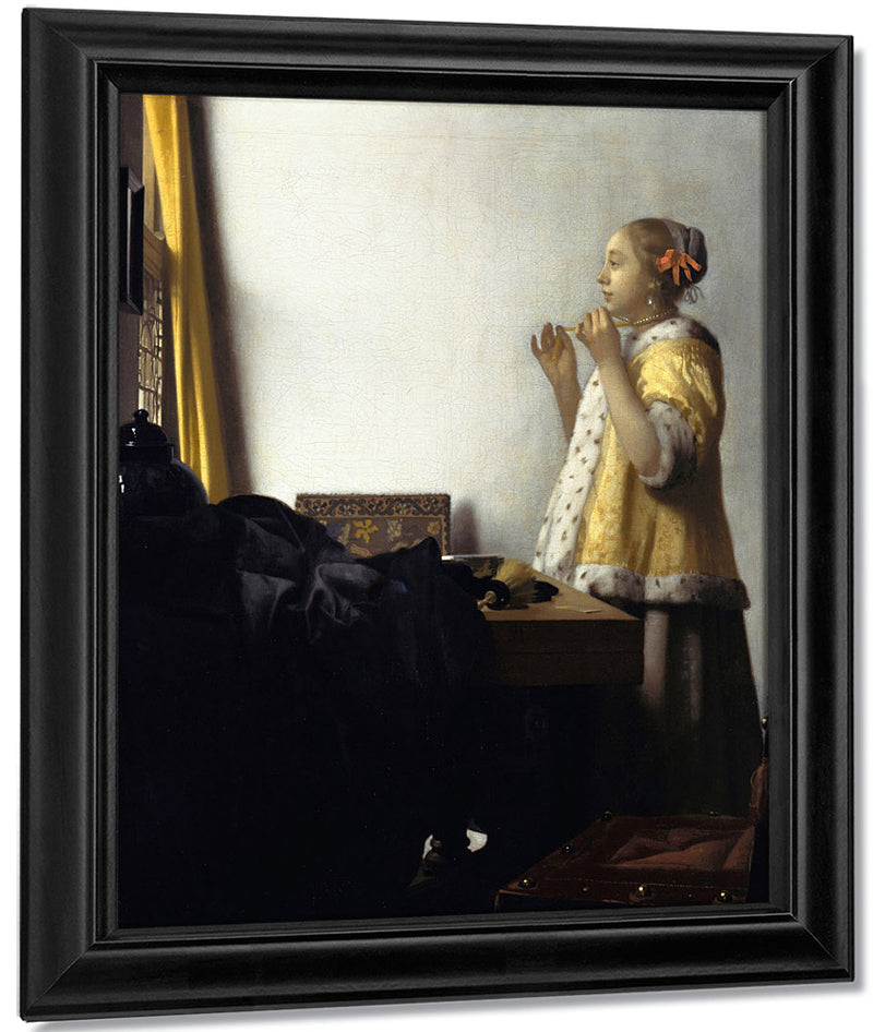 Young Woman With A Pearl Necklace 1662 By Johannes Vermeer