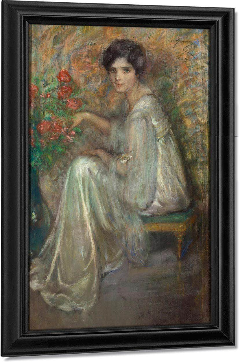 Young Woman With Roses By Alice Pike Barney