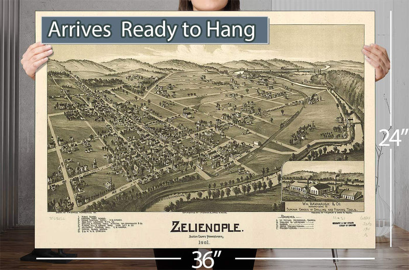 Zelienople Butler County Pennsylvania 1901 Vintage Map
