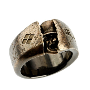 SILVER HIDDEN SAMURAI RING(14-2358)-Ring-Samurai-Jewels Japan