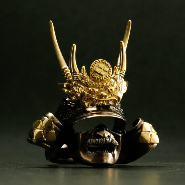SILVER SAMURAI RING with 18KARAT GOLD EMBLEM (14-2352)-Ring-Samurai-Jewels Japan