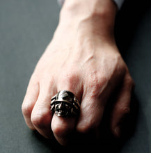 Load image into Gallery viewer, BRASS SAMURAI RING With HIDDEN SKULL (14-2367B)-Ring-Samurai-Jewels Japan