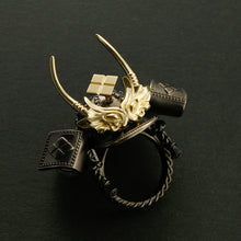 Load image into Gallery viewer, SILVER SAMURAI KABUTO RING with 18KARAT GOLD parts(14-2360)-Ring-Samurai-Jewels Japan