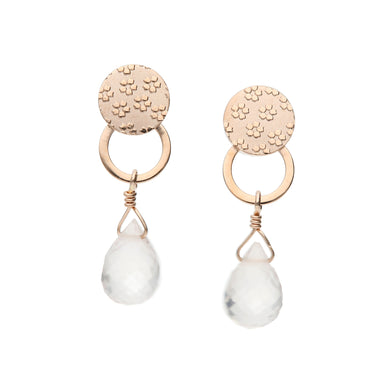 10 Karat Pink Gold/Rose Quartz Sakura Earrings (43-1017)