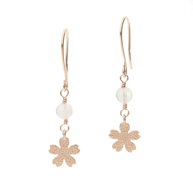 10 Karat Pink Gold/Rose Quartz Sakura Earrings (43-1019)