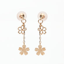 Load image into Gallery viewer, 10 Karat Pink Gold Sakura Earrings (43-1020)