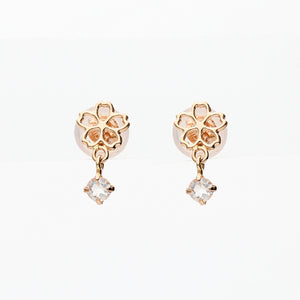 10 Karat Pink Gold/Rose Quartz Sakura Earrings (43-1099)