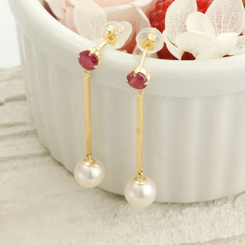 18 Karat Gold Akoya Pearl Earrings (46-8659)-Earring-Jewels Japan