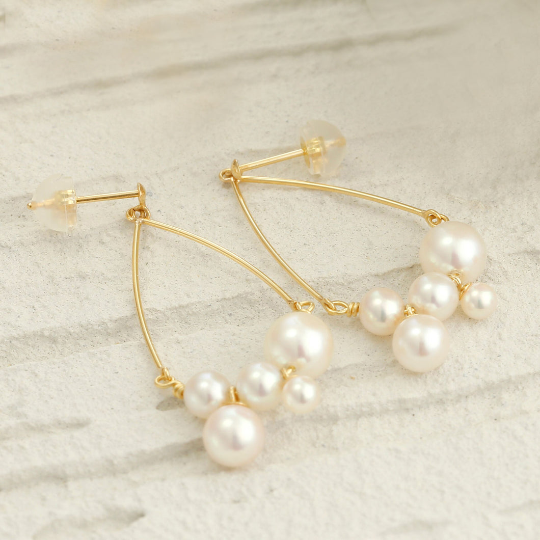 18 Karat Gold Akoya Pearl Earrings (46-8685)-Earring-Jewels Japan