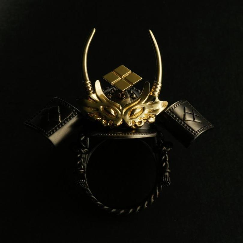 SILVER SAMURAI KABUTO RING with 18KARAT GOLD parts(14-2360)-Ring-Samurai-Jewels Japan