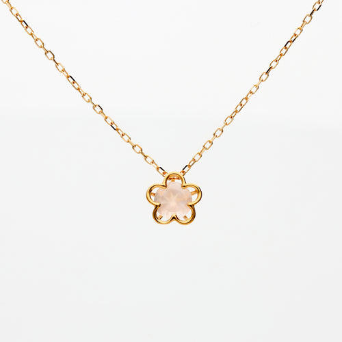 10 Karat Pinkgold Rose Quartz sakura Necklace (63-0857)