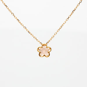 10 Karat Pink Gold/Rose Quartz Sakura Necklace (63-0857)