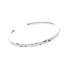 Load image into Gallery viewer, Silver Sakura Enamel Bangle (74-1595)