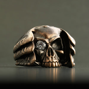 BRASS SAMURAI RING With HIDDEN SKULL (14-2367B)-Ring-Samurai-Jewels Japan