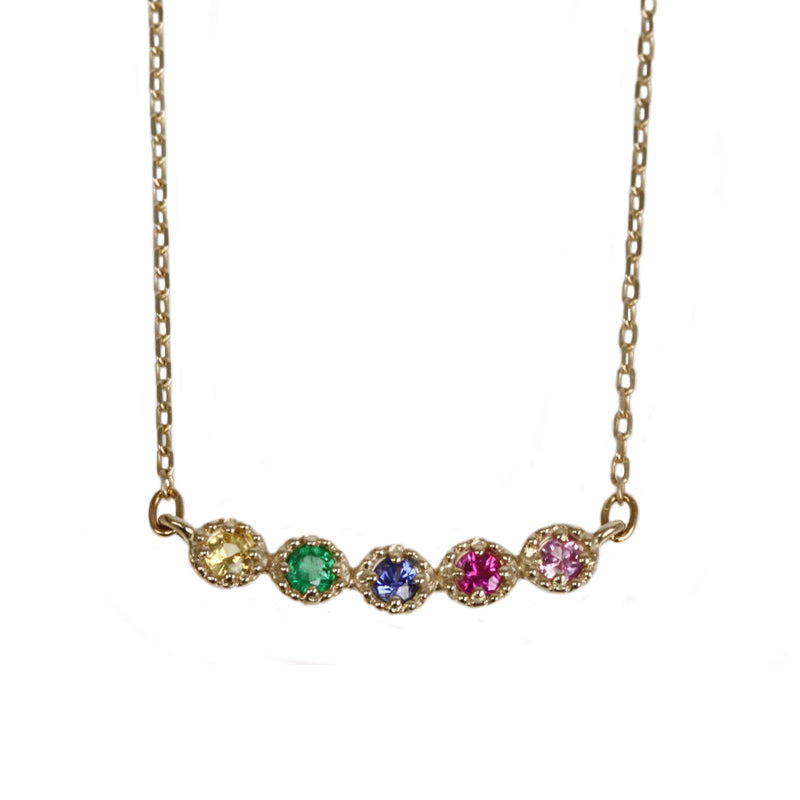 10 Karat Gold Sapphire Ruby Emerald Necklace (95-0815)-Necklace-Jewels Japan