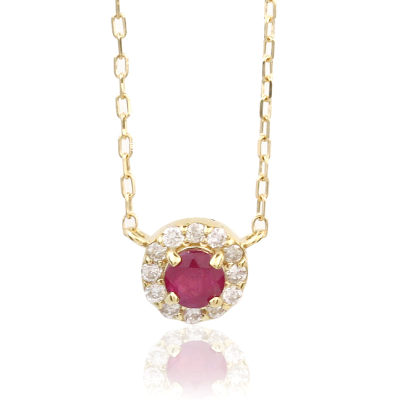 18 Karat Gold Diamond Ruby Necklace (95-0978)-Necklace-Jewels Japan