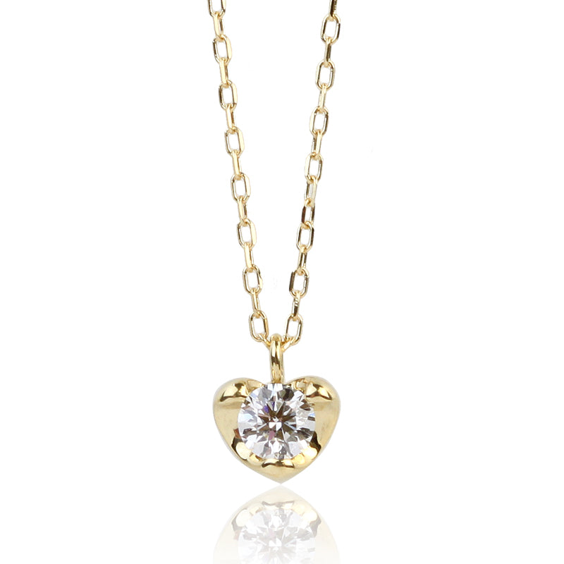 18 Karat Gold Diamond Heart Necklace (95-0992)-Necklace-Jewels Japan