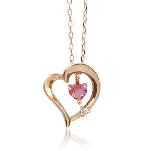 10 Karat Gold Topaz Heart Necklace (95-1038)-Necklace-Jewels Japan