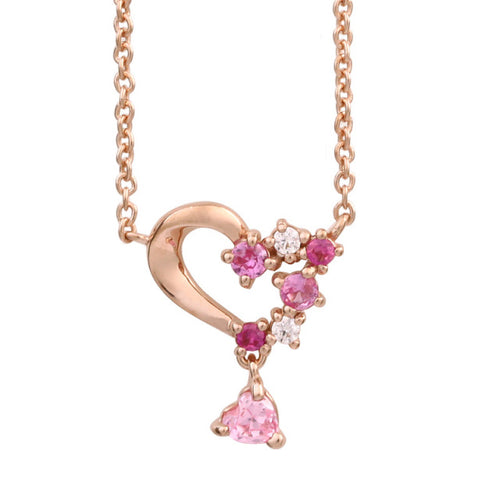 SV925 PInk gradation Heart Necklace (95-2495)-Necklace-Jewels Japan