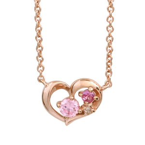 SV925 PInk gradation Heart Necklace (95-2496)-Necklace-Jewels Japan
