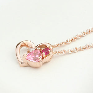 SV925 PInk gradation Heart Necklace (95-2497)-Necklace-Jewels Japan