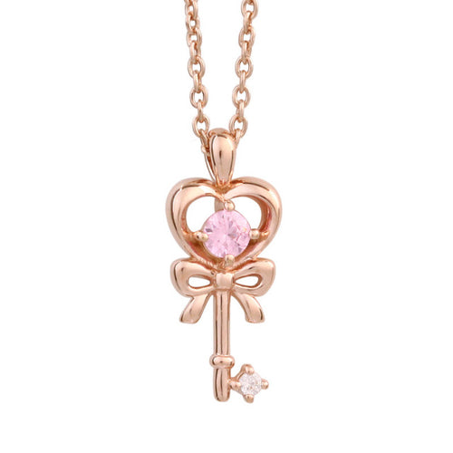 SV925 Heart Ribbon Key Necklace (95-2606)-Necklace-Jewels Japan