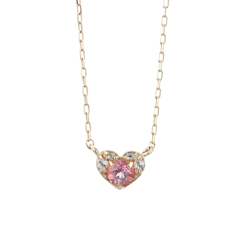 10 Karat Gold Topaz Heart Necklace-Necklace-Jewels Japan