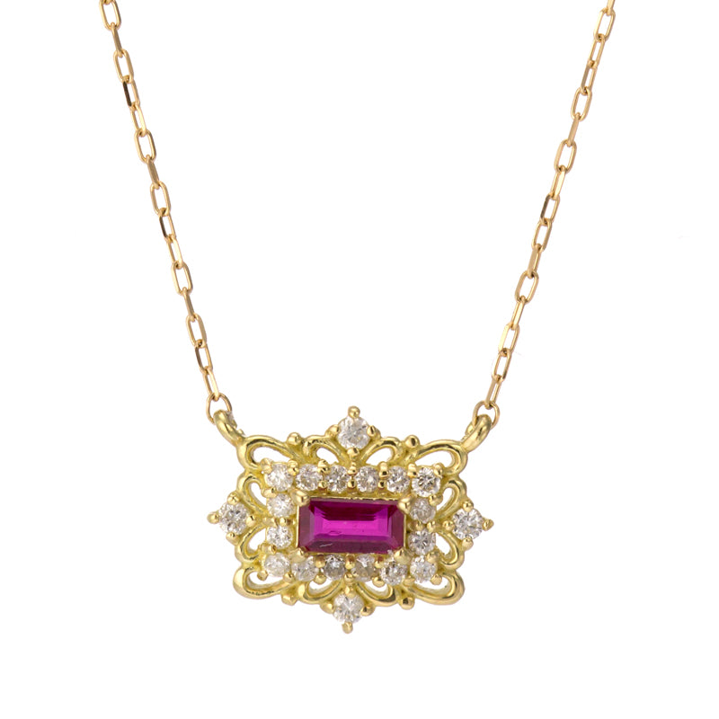 18 Karat Gold Ruby Sapphire Necklace (96-1040-1041)-Necklace-Jewels Japan