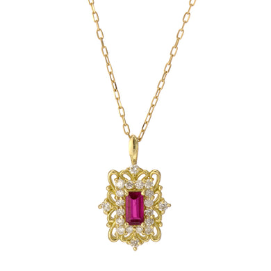 18 Karat Gold Ruby Sapphire Necklace (96-1046-1047)-Necklace-Jewels Japan
