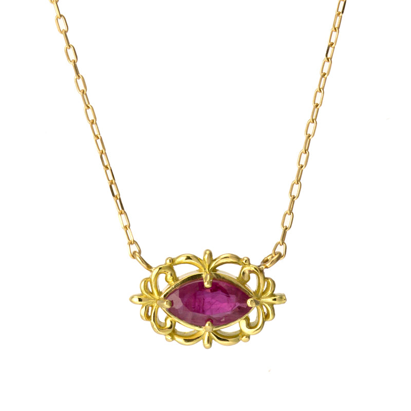 18 Karat Gold Ruby Sapphire Necklace (96-1048-1049)-Necklace-Jewels Japan