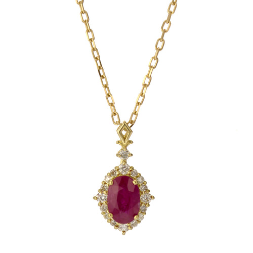 18 Karat Gold Ruby Sapphire Necklace (96-1056-1057)-Necklace-Jewels Japan