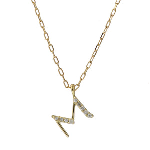 18 Karat Gold Diamond Initial Necklace-Necklace-Jewels Japan