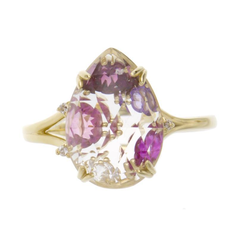 18 Karat Gold Color stone Ring (96-2082)-Ring-Jewels Japan