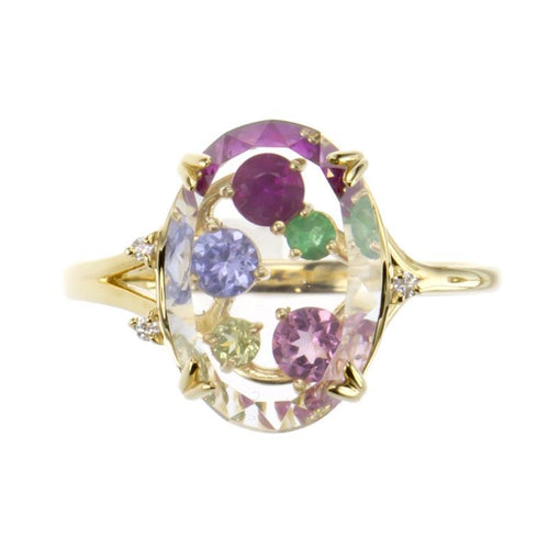 18 Karat Gold Colorstone Ring (96-2083)-Ring-Jewels Japan