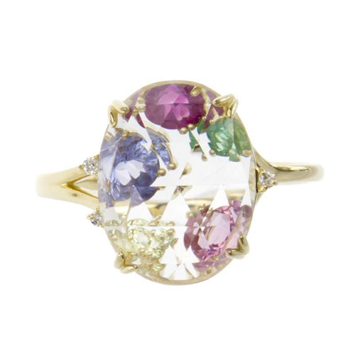 18 Karat Gold Color stone Ring (96-2084)-Ring-Jewels Japan