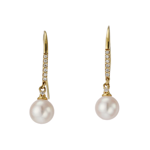 18 Karat Gold Akoya Pearl Earrings (96-3024)-Earring-Jewels Japan