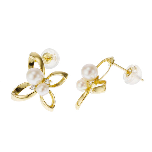 18 Karat Gold Akoya Pearl Diamond Earring (96-3025)
