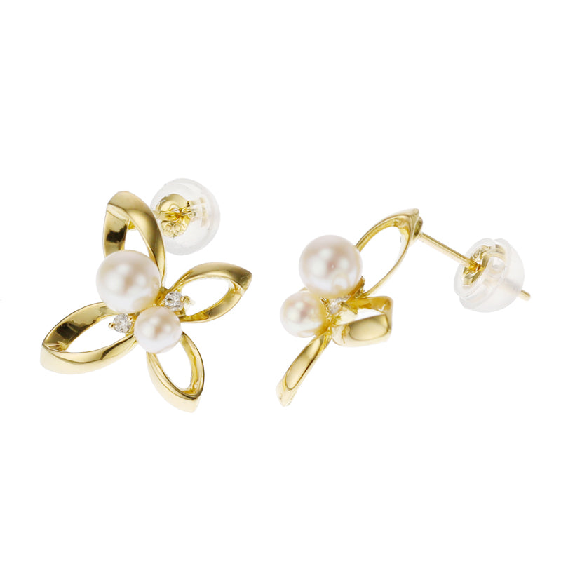 18 Karat Gold Akoya Pearl Diamond Earrings (96-3025)-Earring-Jewels Japan
