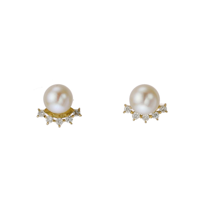 18 Karat Gold Akoya Pearl Diamond Earring (96-3027)