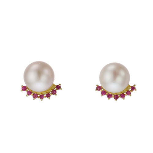 18 Karat Gold Akoya Pearl Ruby Earrings (96-3028)-Earring-Jewels Japan